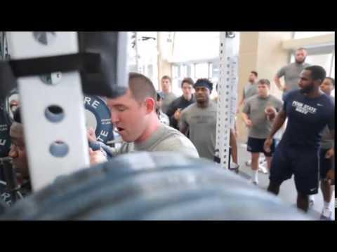 Penn State linebacker Jason Cabinda lifts during winter workouts