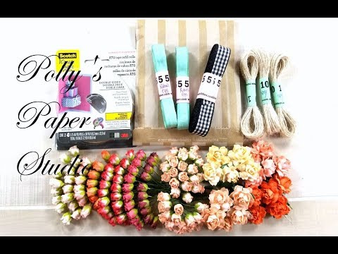 October Really Reasonable Ribbon Haul Polly's Paper Studio Design Team Allotment Flowers Scrapbook