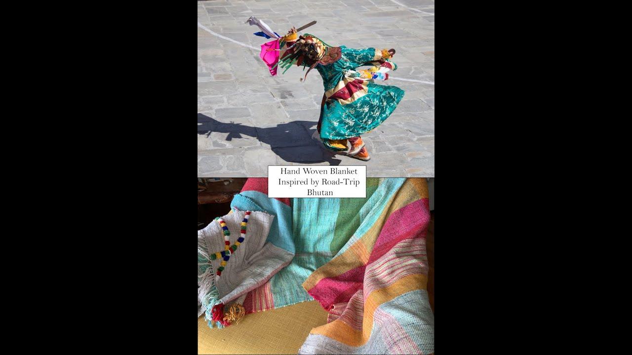 Bhutan Vintage Car Road Trip inspired me to weave this blanket.