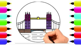 Glitter Tower Bridge Coloring Page | How to draw Tower Bridge London | Super Coloring Pages