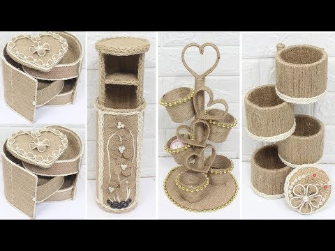 5 Jute craft ideas | Jewellery organizer box with jute