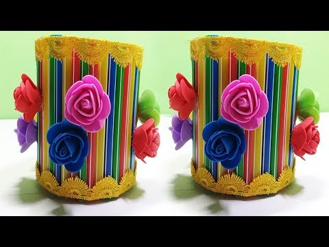 How To Make a Flower Vase and Pen Stand With Drinking Straw || Best out of Waste || Straw Pipes