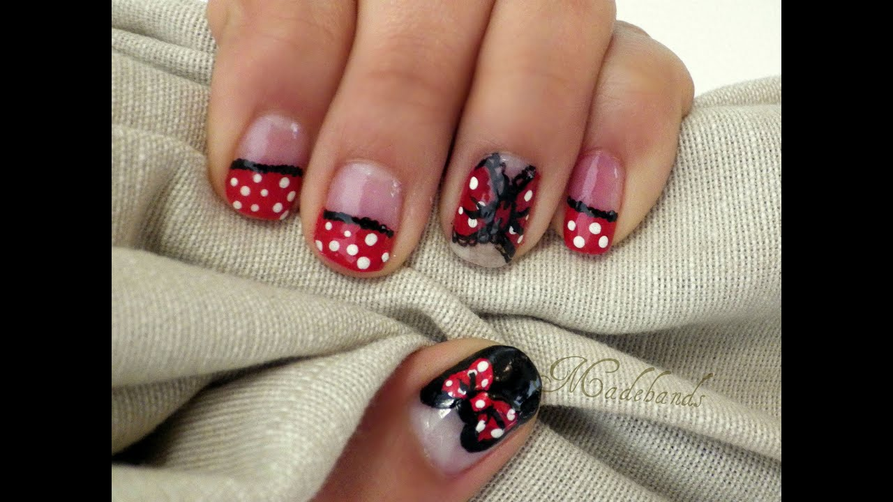 Diseño de uñas Minnie mouse// Minnie mouse nail art - YouTube