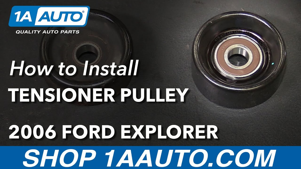 How to install replace serpentine belt tensioner pulley v8 4 6l 2006 09 ford explorer