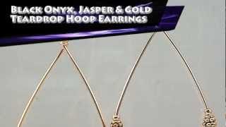 Black Onyx, Dalmatian Jasper And Gold Teardrop Hoop Earrings