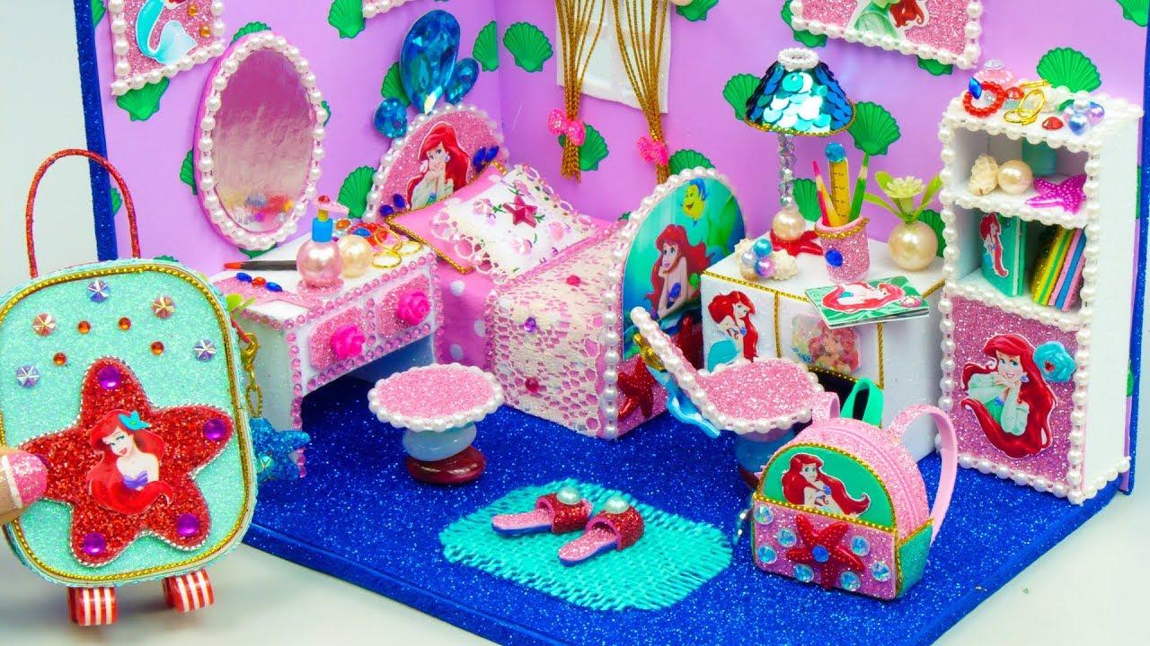 Diy Miniature Dollhouse Room Ariel Room Decor Backpack Youtube