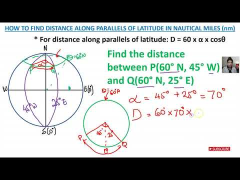 HOW TO FIND DISTANCE ALONG THE PARALLELS OF LATITUDE IN NAUTICAL MILES