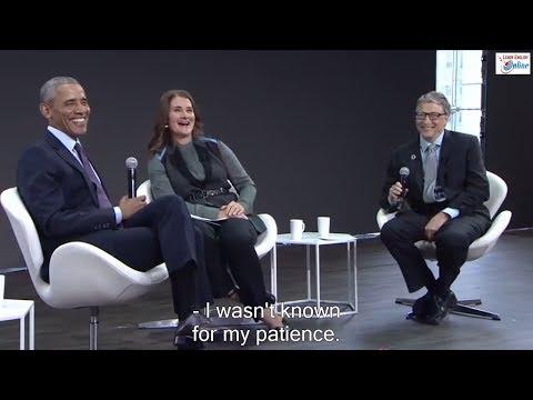Learn English via Conversation with Barack Obama, Bill Gates and Melinda Gates - English Subtitles