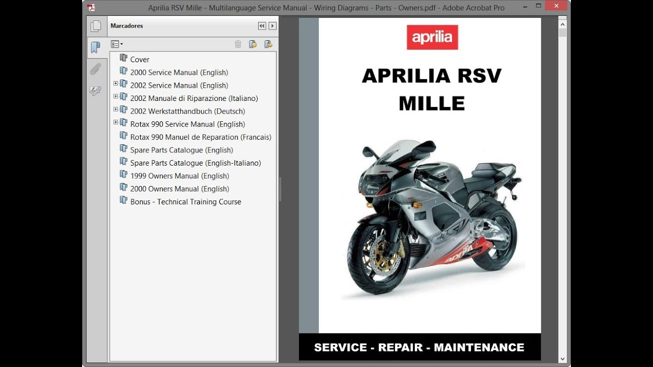 Aprilia RSV Mille - Multilanguage Service Manual - Wiring Diagrams - Parts  - Owners - YouTubeYouTube