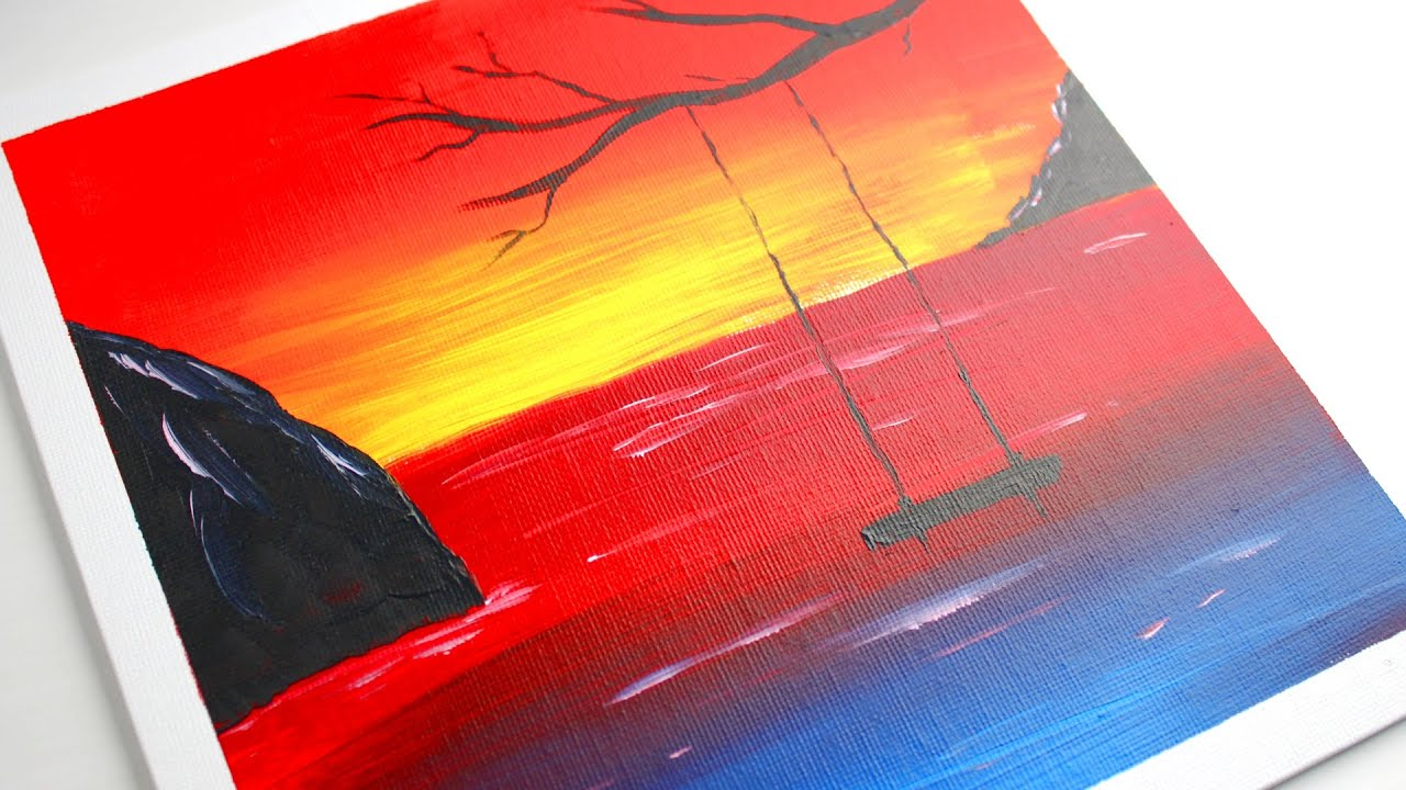 Easy Painting Colorful Sunset Sky Swing On Tree Daily Art Youtube