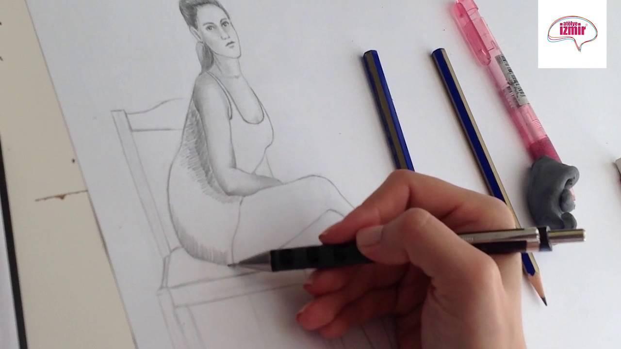 Oturan Bayan Figür çizim çalışması Youtube
