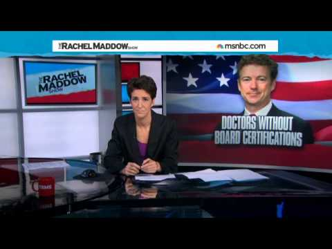Rand Paul Fear-Mongers on Ebola - Rachel Maddow Show from YouTube · Duration:  9 minutes 57 seconds