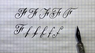 Латинская буква F. Урок: чистописание острым пером. Alphabet calligraphy lesson letter F. 俄语课