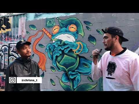 Painting with a Brush on a Stick: Mural Art Vlog