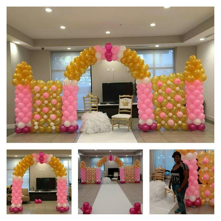 How To Build A Balloon Castle Wall For Princess Theme Party Pink And Gold Decorations