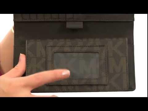 9250fb37bb49 MICHAEL Michael Kors Jet Set Checkbook Wallet Brown Leather w/ PVC Logo -  Robecart.com Free Shipping