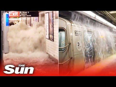 Flash floods in NYC subway as Hurricane Ida kills four & city in emergency