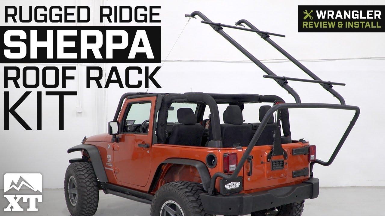 jeep wrangler rugged ridge sherpa roof rack kit 2007 2018 jk 2 door review install