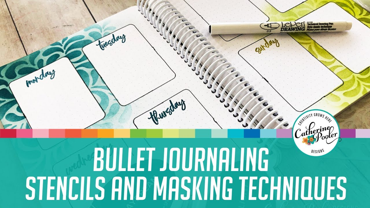 Weekly Canvo Bullet Journal Spreads: Masking and Stencils