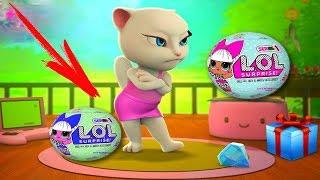 Моя Говорящая Анджела открывает 10 шаров ЛОЛ видео  для детей #УШАСТИК KIDS