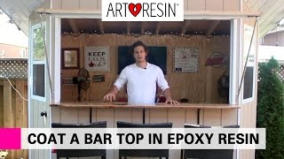 Epoxy Resin Coating an Outdoor Bar Top
