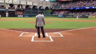 Nolan Ryan Ceremonial 1st Pitch to Craig Biggio