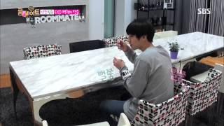 EXO Baekhyun Cute Shy @ Roommate Ep 13  Chanyeol & Baekhyun