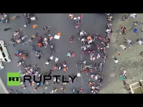 Thailand: Drone captures bird's-eye view of anti-coup protest