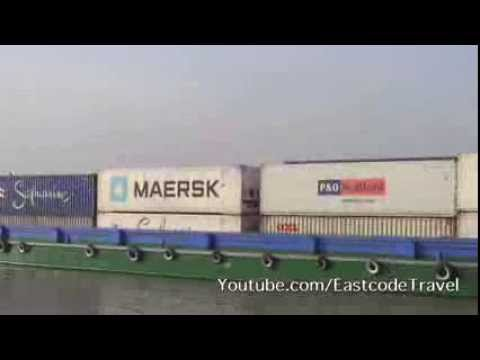 river container ships traffic Saigon river Vietnam