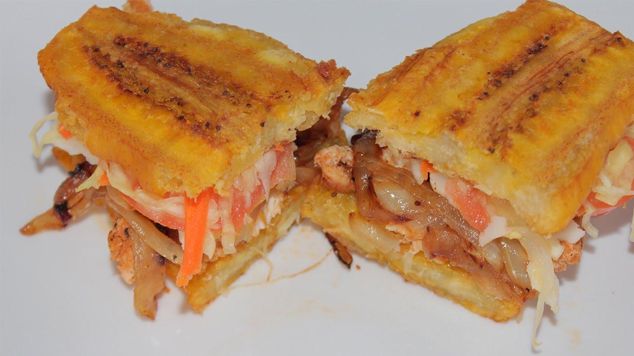 Haitian Style Plantain Sandwich Recipe - YouTube