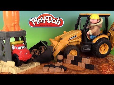 Pâte à modeler play doh Camion Diggin' Rigs Chuck Dump Truck Gravel Yard et Bruder Tractopelle