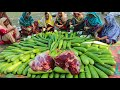 Beef & Long Gourd Mixed Curry - Full Leg pieces Of Cow & Gourd Curry Cooking By Women - Tasty Food