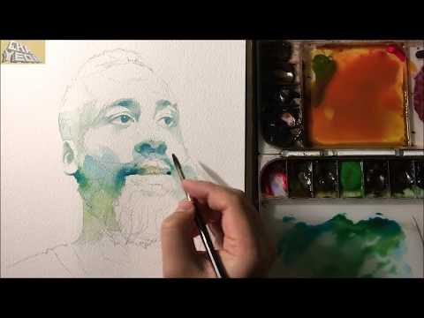 Watercolor Portrait Tutorial - 3X Video(Intermediate Course 1/2) 인물수채화 중간단계 -3배속