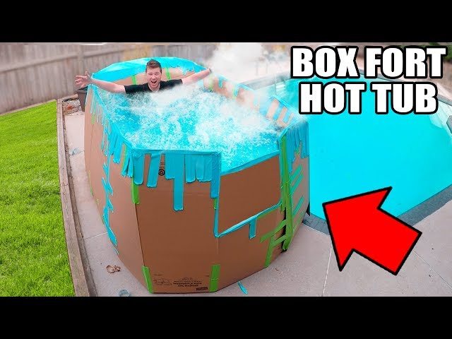 BOX FORT HOT TUB CHALLENGE!! 📦💧