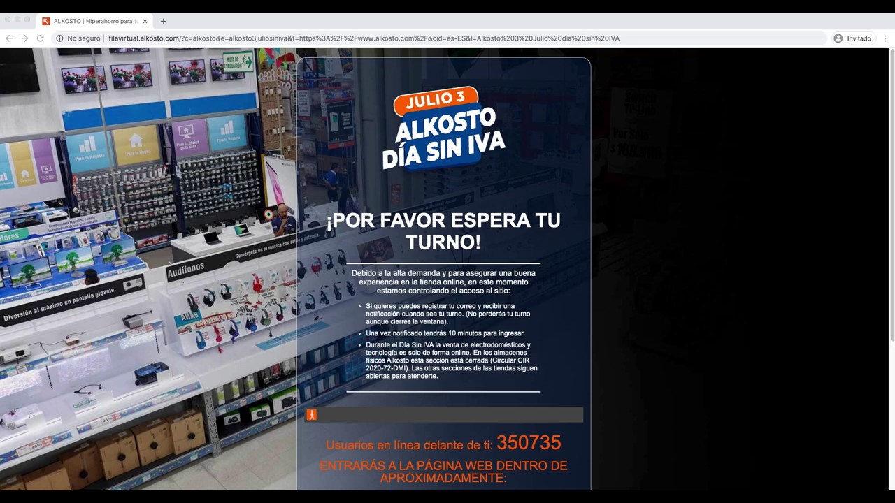 Saltarse la fila virtual de Alkosto - Dia Sin IVA Colombia - YouTube