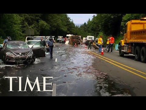 Truck Full Of Eels Overturns And Covers Highway In Slime In Oregon, Leading To A 5 Car Pileup | TIME