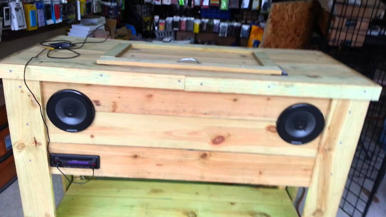 Wooden Ice Chest I Made With Stereo And Led Lights Youtube