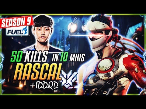 RASCAL (Dallas Fuel) 50 ELIMS in 10 MINUTES | Insane Genji w/ IDDQD [S9]