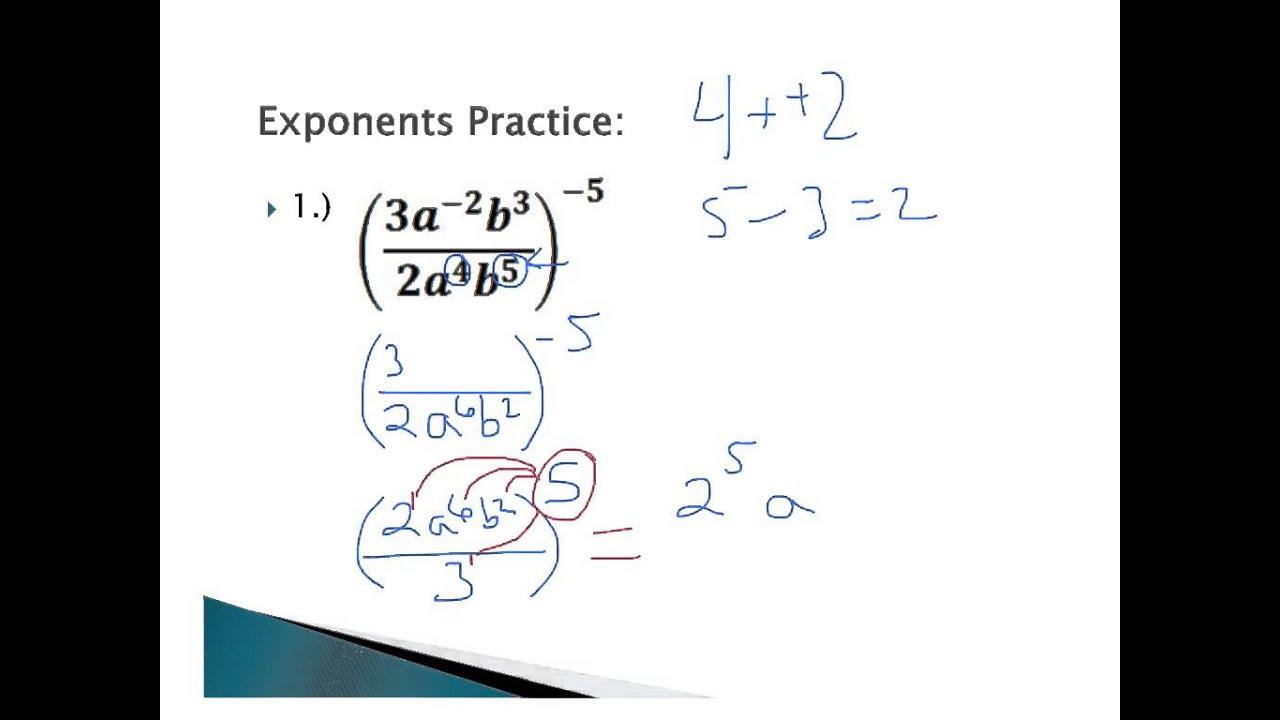 worksheet Exponent Practice 4 2 3 exponent practice algebra youtube 2
