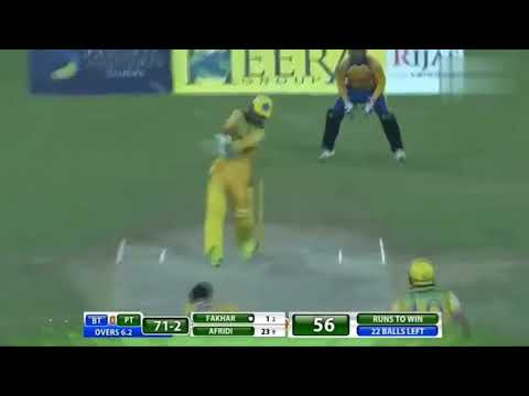 Fakhar zaman 4 huge sixes in t10 league 2017 against bengal tigers