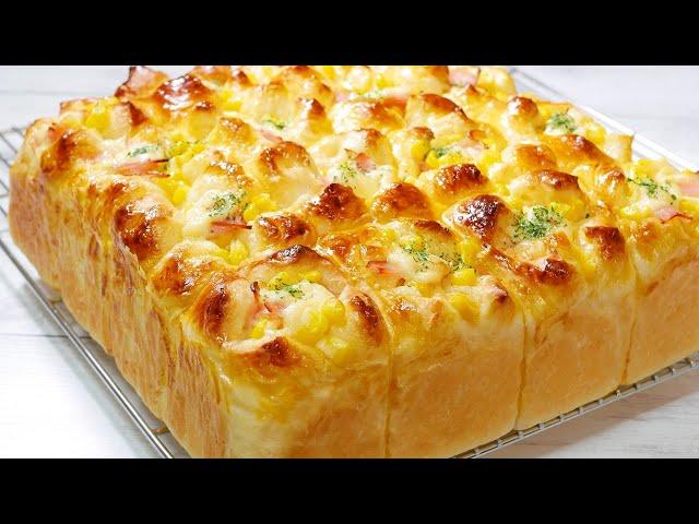 チーズとマヨコーンのちぎりパン【タッパで混ぜるだけ】【Make without kneading】Cheese and corn torn bread