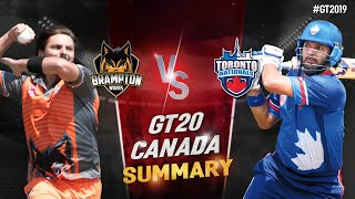 GT20 Canada Summary |Toronto Nationals Vs Brampton wolves |  | GT20 Canada 2019