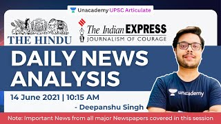 14 June 2021 | UPSC CSE/IAS | The Hindu Daily News Analysis | Current Affairs by Deepanshu Singh