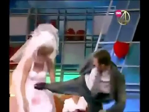 Guy kicks bride on TV show, audience goes wild (FIGHT)