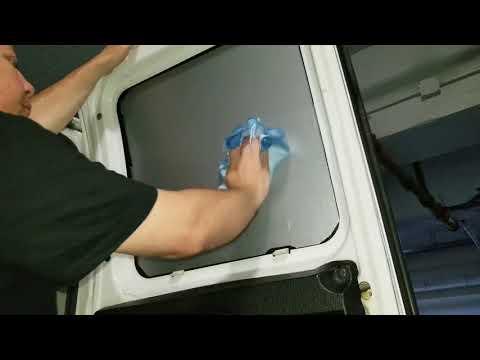 Brushed aluminum Windows film cover for plumbing work van installation video