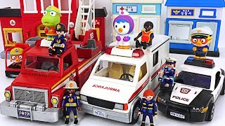 Playmobil Police car, Ambulance, Fire truck move! Let's arrest the villain! #PinkyPopTOY thumbnail