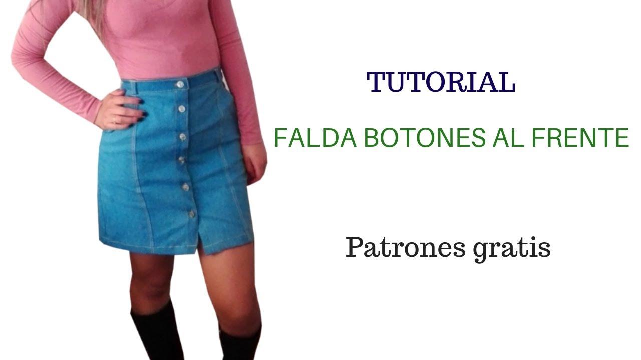 d37c8cc4f DIY Cómo hacer una falda con botones al frente corte y confección