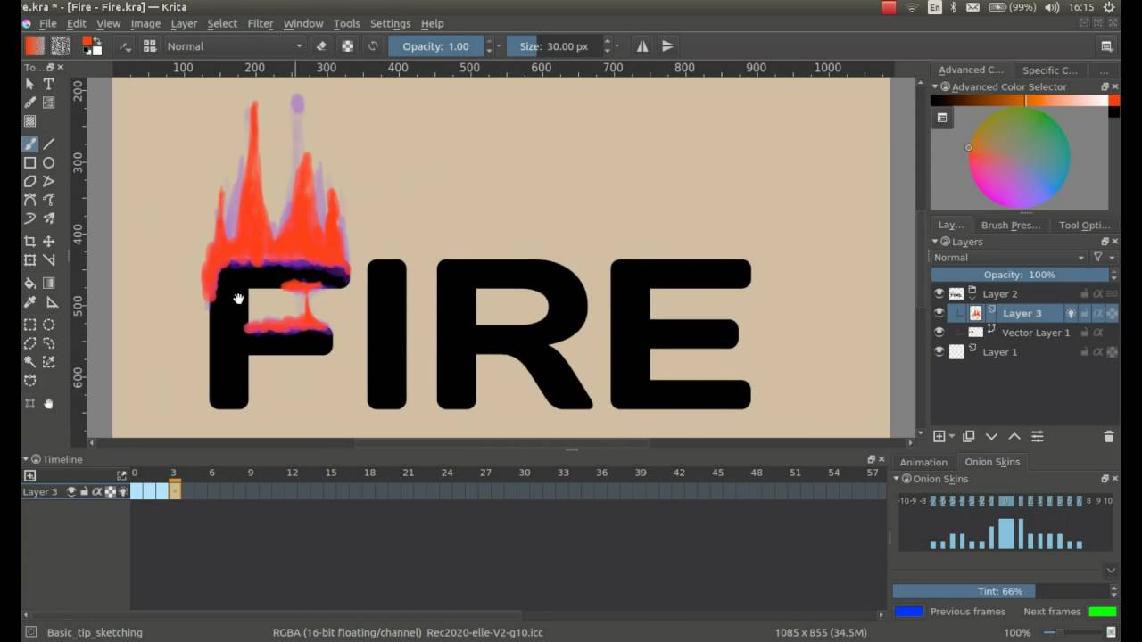 How To Make Animated Burning Headers In Krita 30(reupload)