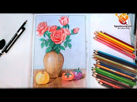 Hướng dẫn vẽ lọ hoa và quả/ Mĩ thuật  / nc planvẽ nghệ thuật
