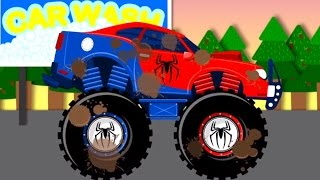 spiderman car wash monster truck   videos for children   videos for kids